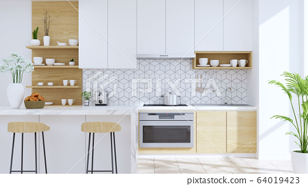 Modern kitchen room interior,wood Stool with mable counter bar and modern furniture ,white pantry room .3drender 64019423