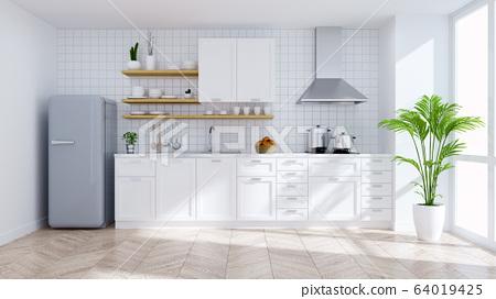 Modern kitchen white room interior,empty room .3drender 64019425