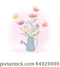 Flowers inside watering can and butterflies hand 64020000