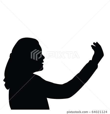 a girl head silhouette vector 64021124