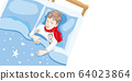 The child is ill. The boy is lying in bed with a 64023864