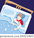 The child is ill. The boy is lying in bed with a 64023865