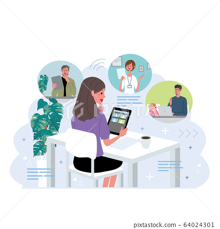 Remote work people working from home telework illustration 64024301