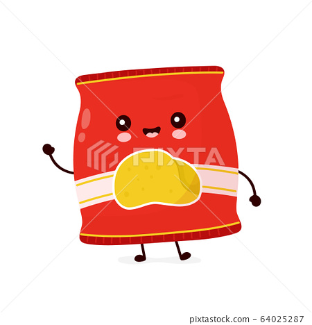 Cute happy smiling chips pack. Vector 64025287