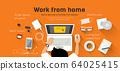Man Work from home, desk top view design orange background 64025415
