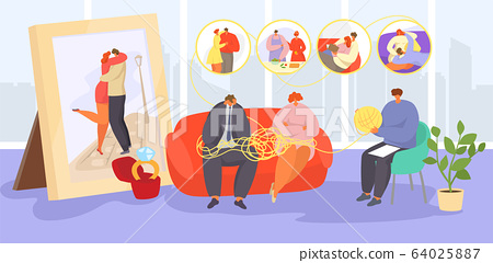 Couple on psychotherapy vector illustration, cartoon sad adult family people visit psychotherapist for advice, help in emotional problem 64025887