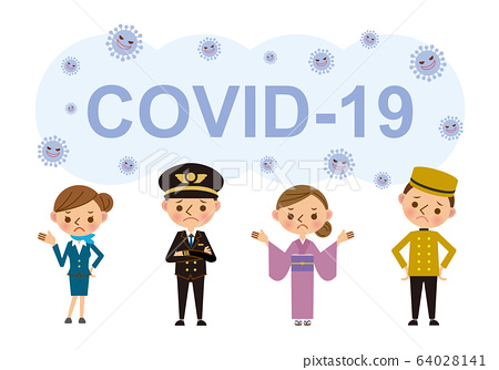 Illustration material of travel industry staff suffering from coronavirus 64028141