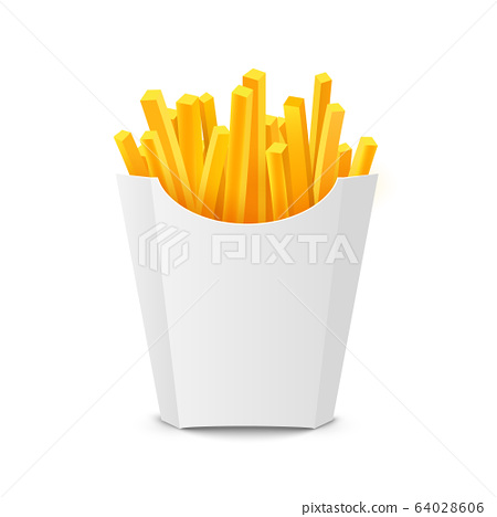 French potato pack box. Cartoon fastfood fry potato isolated illustration fast food 64028606