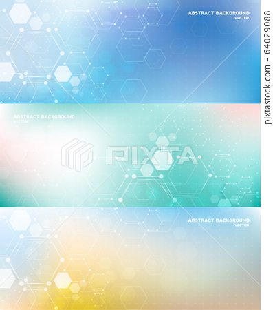 Molecule structure abstract background. Medical, research, chemistry, biotechnology, science and technology concepts, vector illustration. 64029088