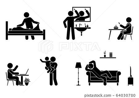 Stick figure man everyday life time activities vector icon set. Making bed, brushing hair, eating, sitting at desk, working, studying, playing with child, resting, relaxing on sofa pictogram 64030780