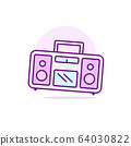 Pink tape recorder. Music's bright poster. Vector 64030822