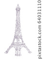 Eiffel Tower halftone illustration 64031110