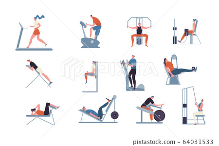 Exercise machines for gym, vector illustration, people training at fitness club, sport, bodybuilding and workout, flat style.