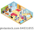Isometric apartment layout, room interior in modern house, indoor plan view, vector illustration 64031655