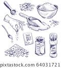 Sketch sea salt. Hand drawn spice, seasoning packaging. Glass bottles with salt powder, salting crystals vintage engraved vector set 64031721