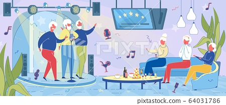 Elderly People Having Fun Together in Karaoke Bar. 64031786
