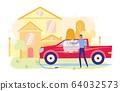 Young Man Washing, Polishing Car near House Flat. 64032573