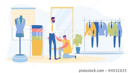 Guy and Dressmaker Taking Measurement in Salon 64032835