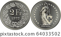 Swiss money 2 francs silver coin 64033502