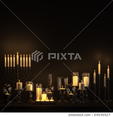 variety shape candle holder on black background 3d render 64036427