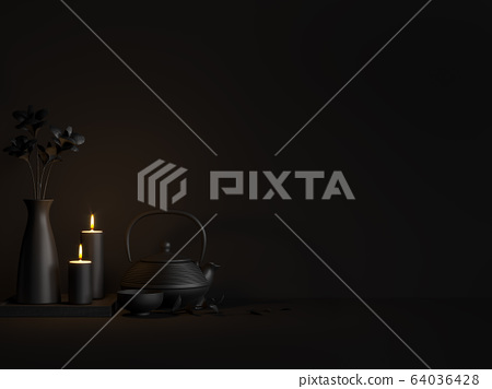 Minimal black style image of teapot and candle in the dark room 3d render 64036428