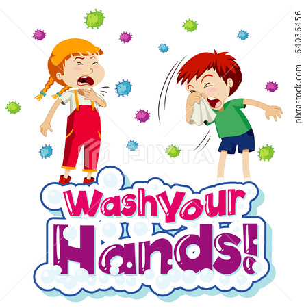 Coronavirus theme poster design with word wash 64036456