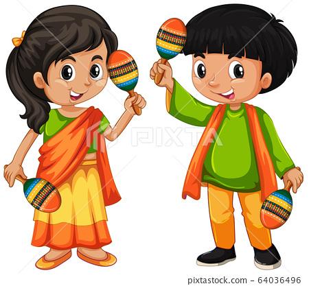 India kid holding maracas on white background 64036496