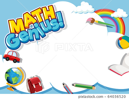 Frame design template with school items and sky 64036520