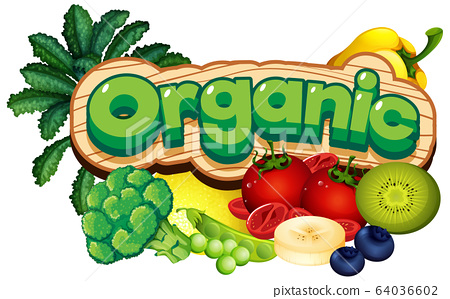 Font design for word organic with many vegetables 64036602