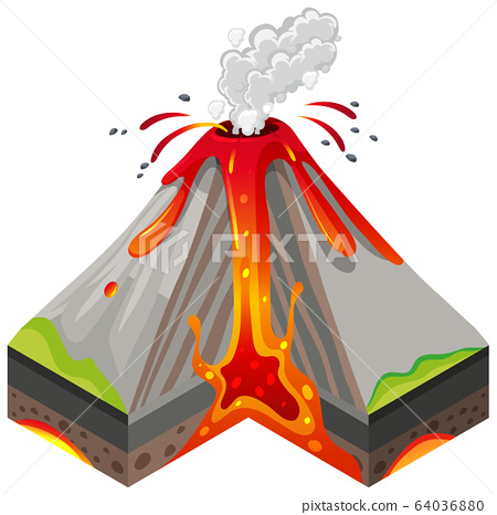 Volcano eruptions and inside layers on white 64036880