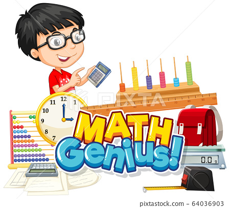 Font design for word math genius cute boy and 64036903