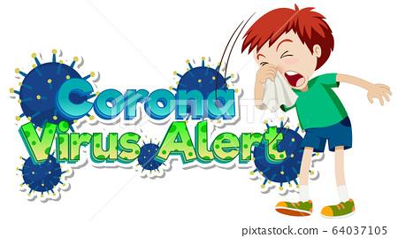 Poster design for coronavirus theme with boy 64037105