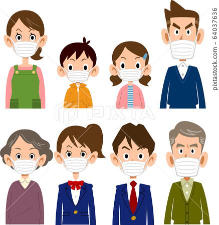 家庭戴著面具上半身的憤怒的臉 64037636