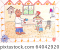 Children drawing of Russian fairy tale view 64042920