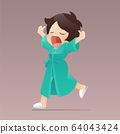 Cartoon girl in a green robe walking and yawning 64043424