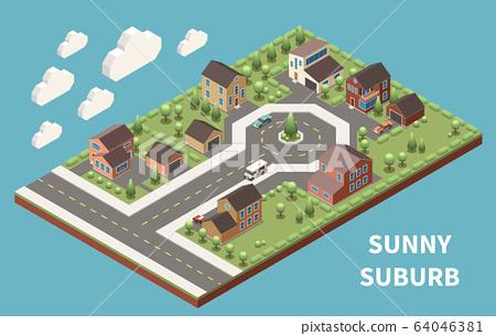 Sunny Suburb Isometric Background 64046381