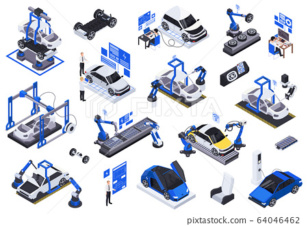Electric Vehicles Production Icons  64046462