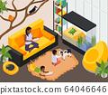Exotic Pet Animals Isometric Interior  64046646