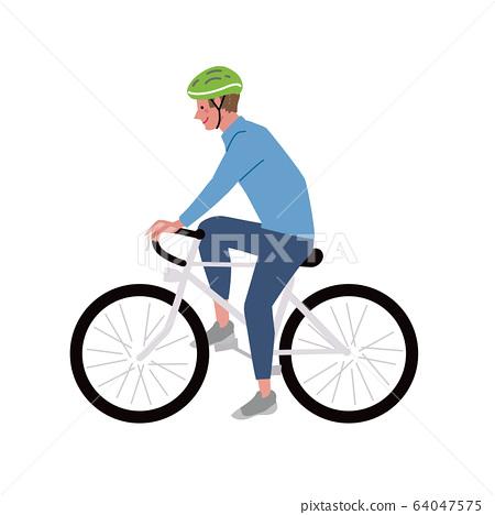 자전거 자전거를 타는 남자 일러스트 64047575