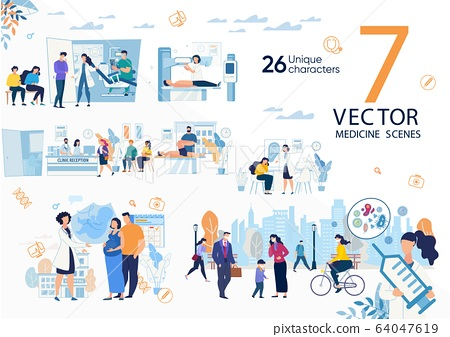 Modern Clinic Medical Services Flat Vector Scenes 64047619