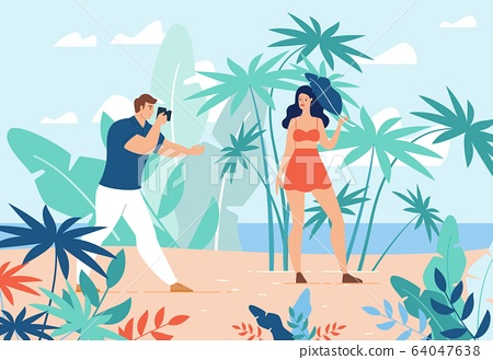 Man Take Photo with Young Woman on Tropical Space 64047638