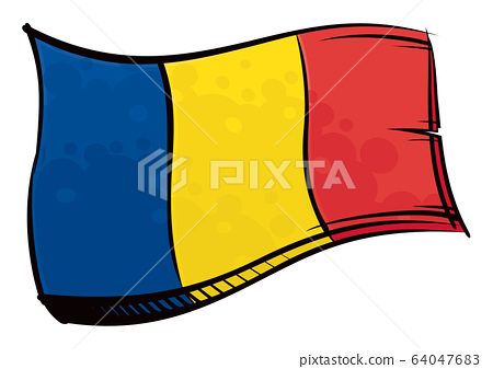 Painted Romania flag waving in wind Romania national flag created in graffiti paint style 64047683