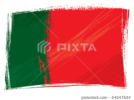 Grunge painted Portugal flag Portuguese Republic flag created in grunge paint style 64047684