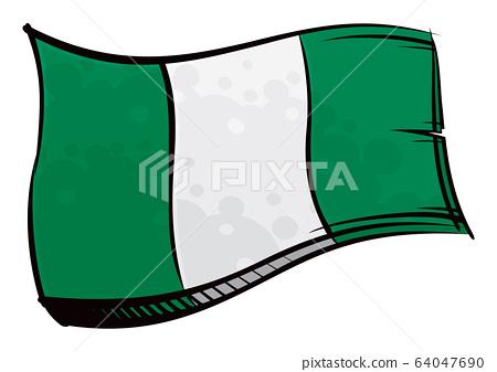 Painted Nigeria flag waving in wind 64047690