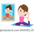 온라인 요가 동영상 전달 운동 여성 일러스트 64048110