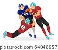 American Football Player Falling Down, Gridiron 64048957