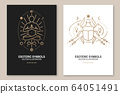 Esoteric symbols poster. Vector. Thin line geometric badge. Outline icon for alchemy, sacred geometry. Mystic, magic design with man sitting in yoga lotus pose, egyptian scarab beetlee 64051491