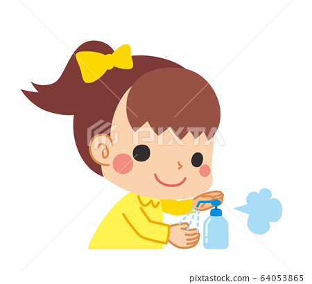 Little girl disinfecting alcohol to prevent infection 64053865