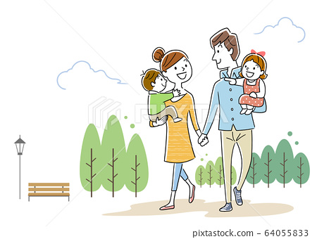 일러스트 소재 : 손을 잡고 웃는 얼굴로 사이 좋게 산책하는 행복한 가족 64055833