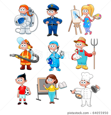 Group of workers for children 64055950